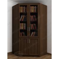Темный угловой закрытый книжный шкаф венге