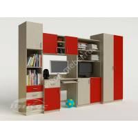 Детская стенка со шкафом, полками и ящиками цвет красный