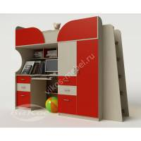 Детская кровать-чердак «Егорка» с ящиками цвет красный