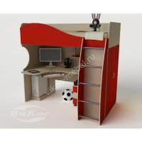 Кровать-чердак «Гном» с нишей и компьютерным столом