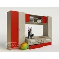 Модульная детская стенка с пеналом, шкафом и кроватью
