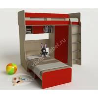 2 этажная кровать «Карлсон-3» со шкафом и полками цвет красный