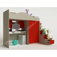 Детская кровать-чердак «Карамель» с ящиками и лестницей