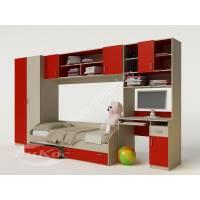 Стенка детская со шкафом и компьютерным столом цвет красный