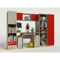 Детская стенка со шкафом, компьютерным столом и полками цвет красный