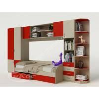 Яркая стенка со шкафом и кроватью для детской комнаты