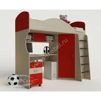 Кровать-чердак «Волна» с письменным столом цвет красный