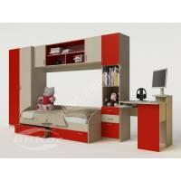Стенка с угловым столом и шкафом в детскую комнату цвет красный