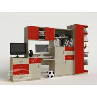 Яркая стенка с компьютерным столом и выдвижными ящиками для детской комнаты