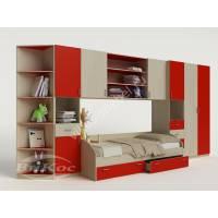 Стенка детская с полками, ящиками и кроватью цвет красный