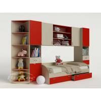 Модульная детская стенка с кроватью, шкафчиками и полками цвет красный