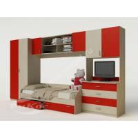 Детская стенка со шкафом, тумбой под ТВ и кроватью цвет красный