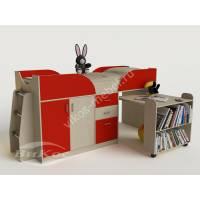 Маленькая кровать чердак «Карлсон-мини» со столом цвет красный