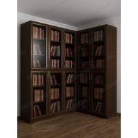 Темный угловой книжный шкаф с распашными дверями со стеклом с гладким фасадом
