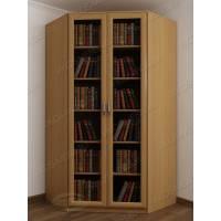 Светлый шкаф для книг в гостиную с гладким фасадом бук