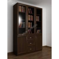 Книжный шкаф 3-х створчатый с тремя ящиками и со стеклянными дверцами