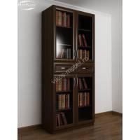 Четырехдверный книжный шкаф с выдвижными ящиками венге