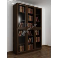 Шкаф книжный трехстворчатый с 4-мя полками и со стеклянными дверцами