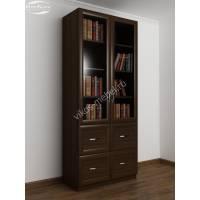 Шкаф книжный 2-х створчатый с четырьмя ящиками и со стеклянными дверцами