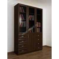 Книжный шкаф трехстворчатый с ящиками и стеклянными дверями