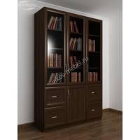 Книжный шкаф трехстворчатый с 4-мя ящиками