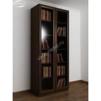 Шкаф книжный двухстворчатый с 5-ю полками и со стеклянными дверями