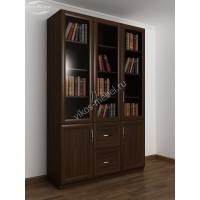 Шкаф книжный трехстворчатый с двумя ящиками и со стеклянными дверцами