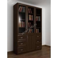 Книжный шкаф трехстворчатый с 6-ю ящиками и со стеклянными дверцами