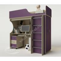 Кровать-чердак «Теди» для детей цвет фиолетовый