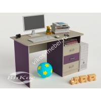 Компьютерный стол прямой с полкой и ящиками