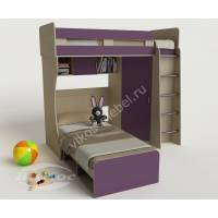 Детская кровать «Карлсон-3» со шкафом и лестницей