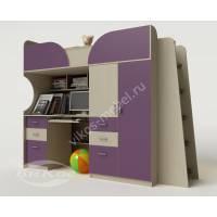 Кровать-чердак «Егорка» с рабочим местом цвет фиолетовый