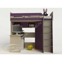 Кровать-чердак «Карлсон-1» с ящиками цвет фиолетовый