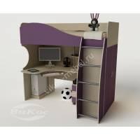 Кровать-чердак «Гном» высокая со столом и шкафом для мальчика