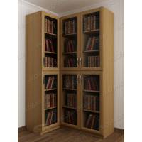Закрытый угловой шкаф для книг со стеклом