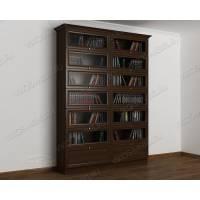 Темный книжный шкаф сервант с фигурным фасадом венге