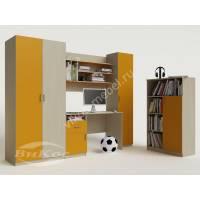 """Детская стенка """"Лотос"""" со столом, полками и шкафчиками цвет желтый"""