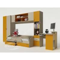 Яркая детская стенка с кроватью, угловым столом и полками для девочки цвет желтый