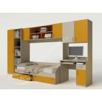 Яркая детская стенка с кроватью, столом, полками и шкафом