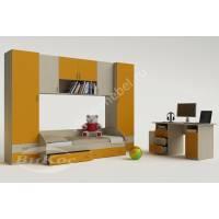 """Детская стенка """"Лилия"""" с кроваткой, выдвижными ящиками и шкафчиками цвет желтый"""