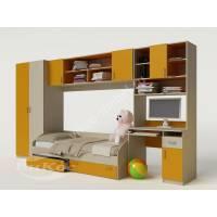 Желтая детская стенка с кроваткой, столом и шкафом для девочки