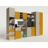 Яркая детская стенка со столом и шкафом для девочки цвет желтый
