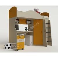Кровать-чердак «Волна» для школьника цвет желтый