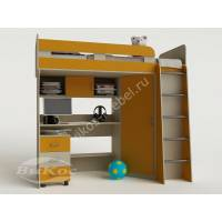 Кровать-чердак «Карлсон-2» для девочки цвет желтый