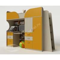 Модульная кровать-чердак со столом, шкафом и ящиками цвет желтый