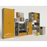 """Яркая стенка """"Мальвина"""" для детской комнаты со шкафом, полками и угловым компьютерным столом"""