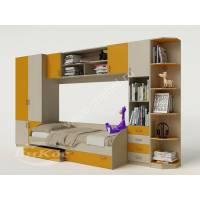 Модульная детская стенка с кроватью, шкафом и ящиками цвет желтый