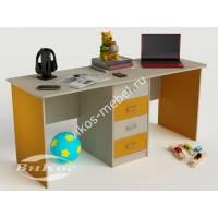 Письменно-компьютерный стол для двоих цвет желтый