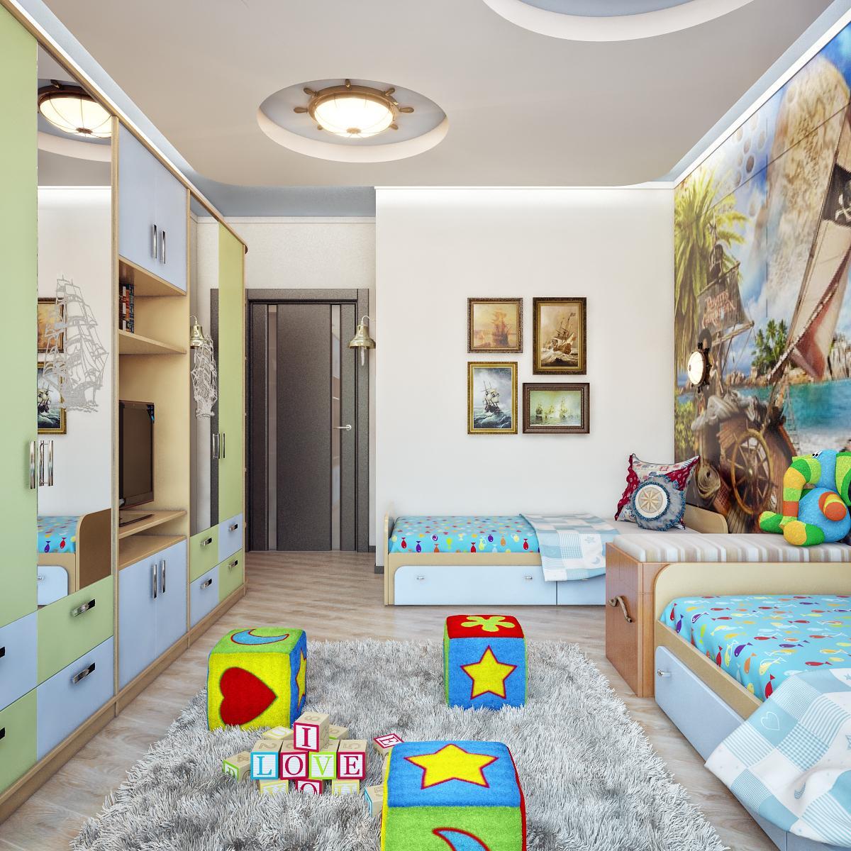 Интерьер детская комната для двоих детей фото